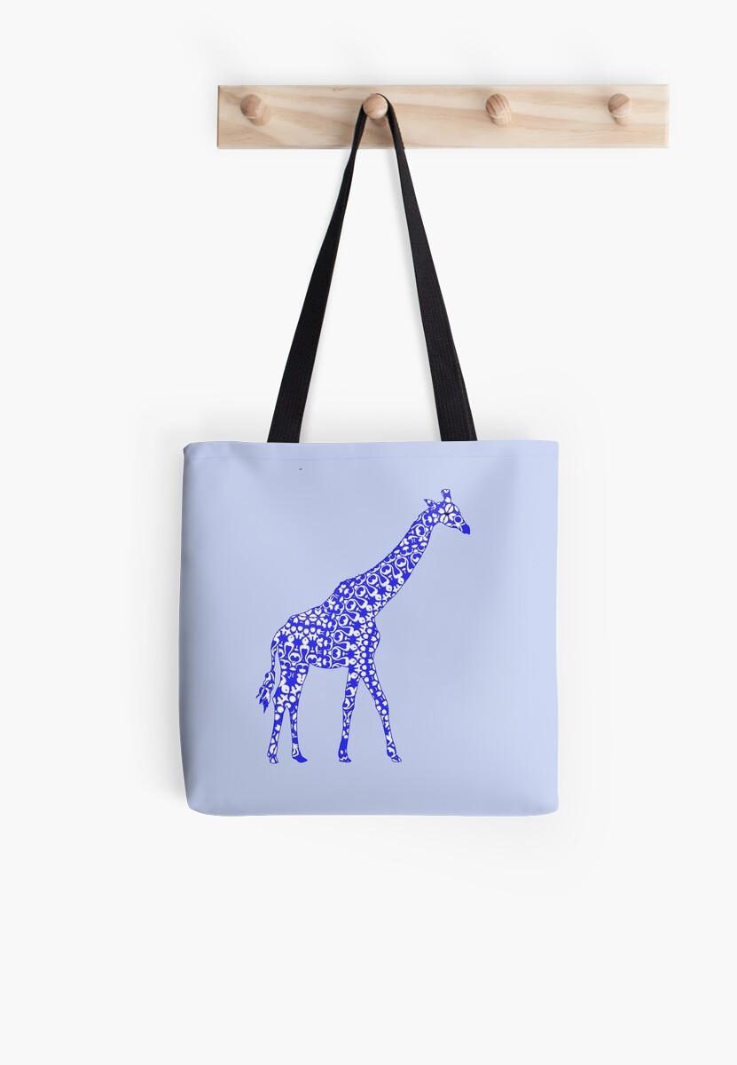 Cute Whimsy Blue Patterned Giraffe by Artification