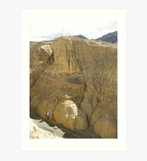 A daunting section - shoreline sediments in Tibet Art Print