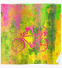 Cat and Bicycle Colours Poster