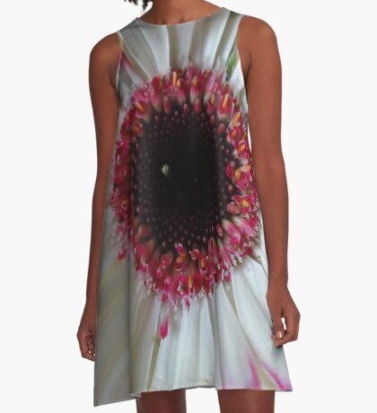 aufgeblüht - zauberhafte Gerbera Blume in weiss und pink A-Linien Kleid