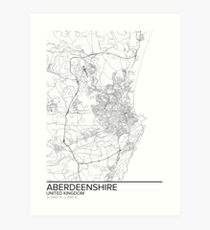 Aberdeenshire map poster print wall art, United Kingdom gift printable, Home and Nursery, Modern map decor for office, Map Art, Map Gifts Art Print