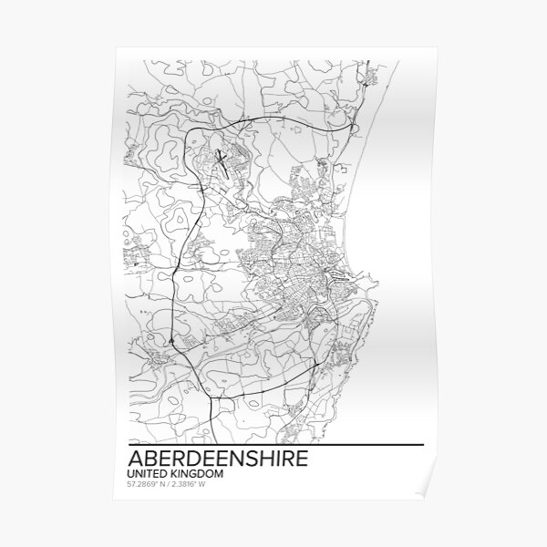 Aberdeenshire map poster print wall art, United Kingdom gift printable, Home and Nursery, Modern map decor for office, Map Art, Map Gifts Poster