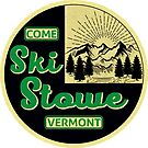 Ski Stowe Vermont Skiing Snowboarding Vintage Style by MyHandmadeSigns