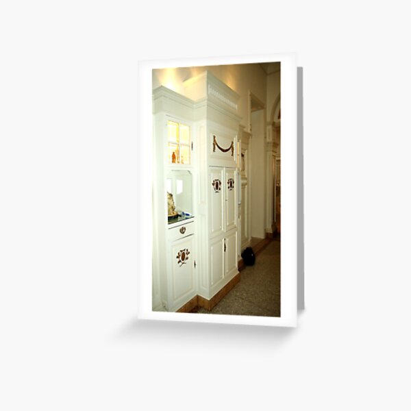 Hallway in white and gold Greeting Card