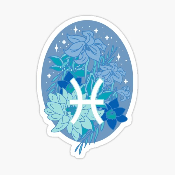 Pisces Flowers - PERIWINKLE Sticker
