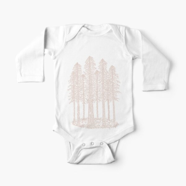 Coastal Redwoods Cathedral Ring Sketch - Red Number 2 Long Sleeve Baby One-Piece