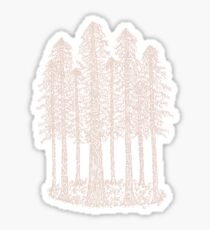 Coastal Redwoods Cathedral Ring Sketch - Red Number 2 Sticker