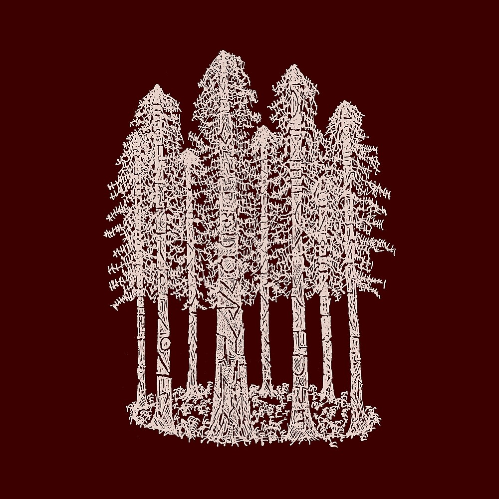 Coastal Redwoods Cathedral Ring Sketch - Red Number 2 by Hinterlund