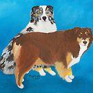 My Buddies ~ Australian Shepherd ~ Oil Painting by Barbara Applegate