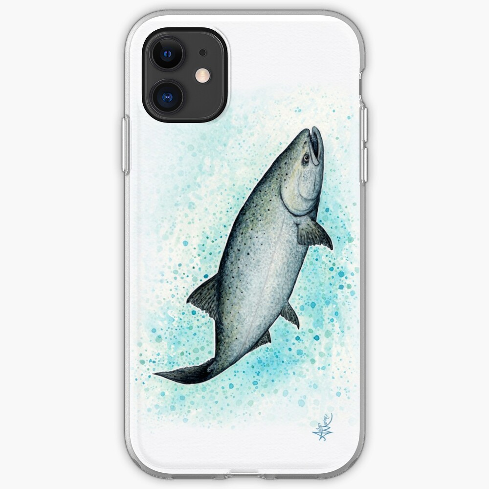 """Salmon Splash"" by Amber Marine ~ watercolor chinook / king salmon painting, art © 2016  iPhone Soft Case"