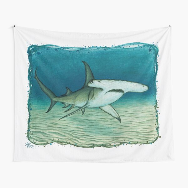 """""""Great Hammerhead Shark"""" by Amber Marine ~ watercolor painting, art © 2016 Tapestry"""