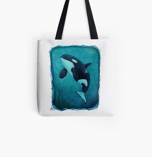 """The Matriarch"" by Amber Marine ~ killer whale / orca watercolor painting, (J2 Granny) art © 2016 All Over Print Tote Bag"