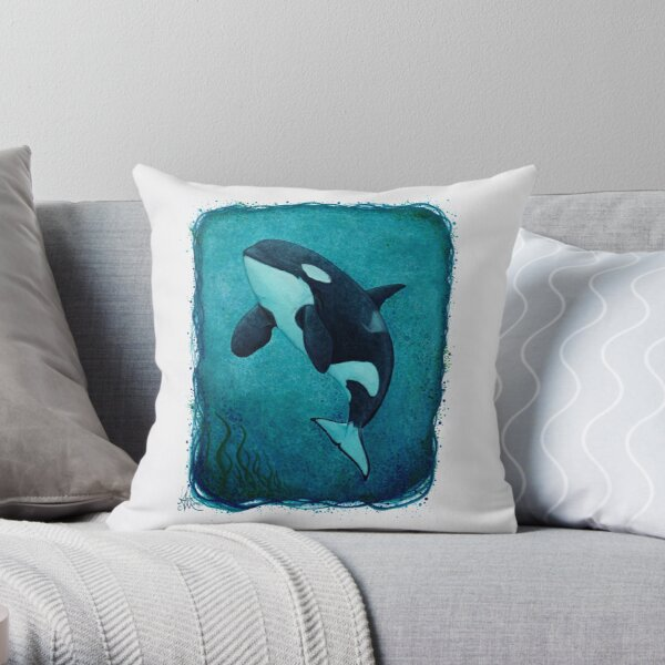 """""""The Matriarch"""" by Amber Marine ~ killer whale / orca watercolor painting, (J2 Granny) art © 2016 Throw Pillow"""