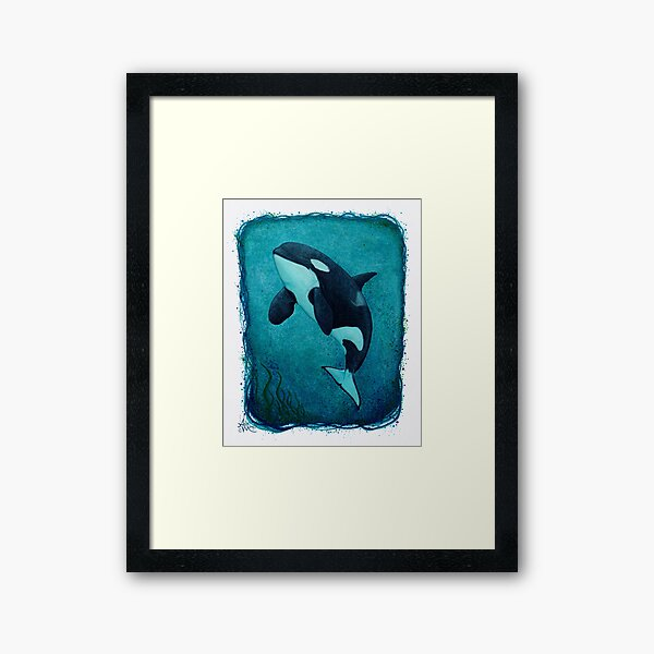 """The Matriarch"" by Amber Marine ~ killer whale / orca watercolor painting, (J2 Granny) art © 2016 Framed Art Print"