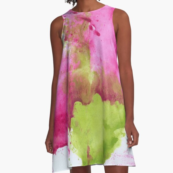 Pink and Green Splotch A-Line Dress