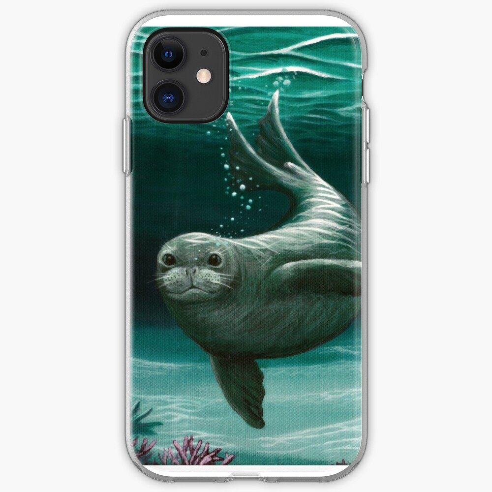 """Hawaiian Monk Seal"" by Amber Marine ~ Acrylic painting, art © 2015 iPhone Soft Case"