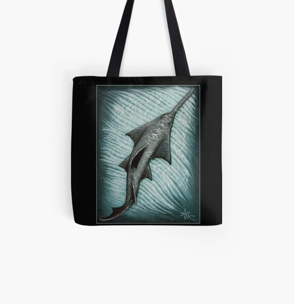 """Sawfish"" by Amber Marine ~ Acrylic painting, art © 2015 All Over Print Tote Bag"