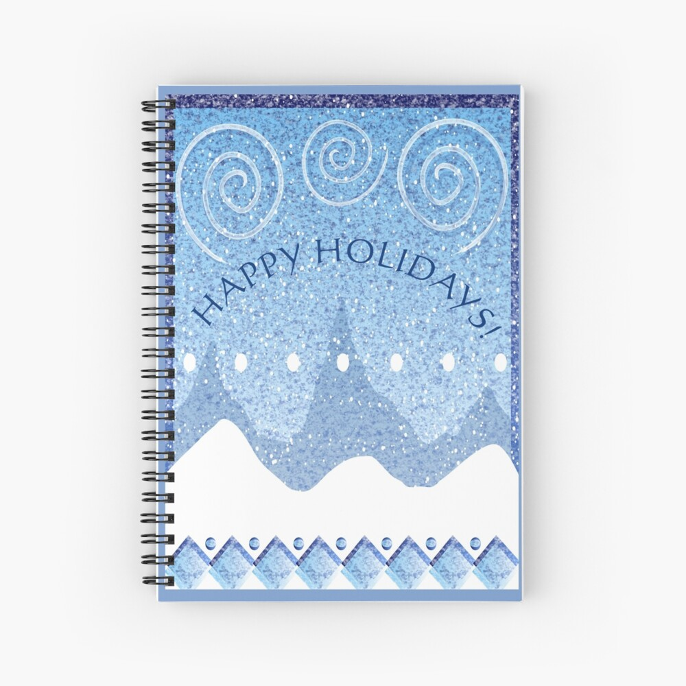 Happy Holidays Snowy Scape in Blue Spiral Notebook