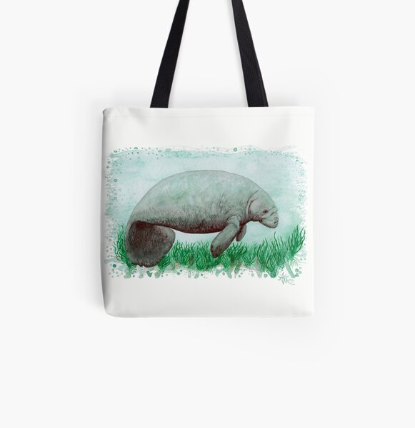 """""""The Manatee"""" by Amber Marine ~ Watercolor painting, art © 2015 All Over Print Tote Bag"""