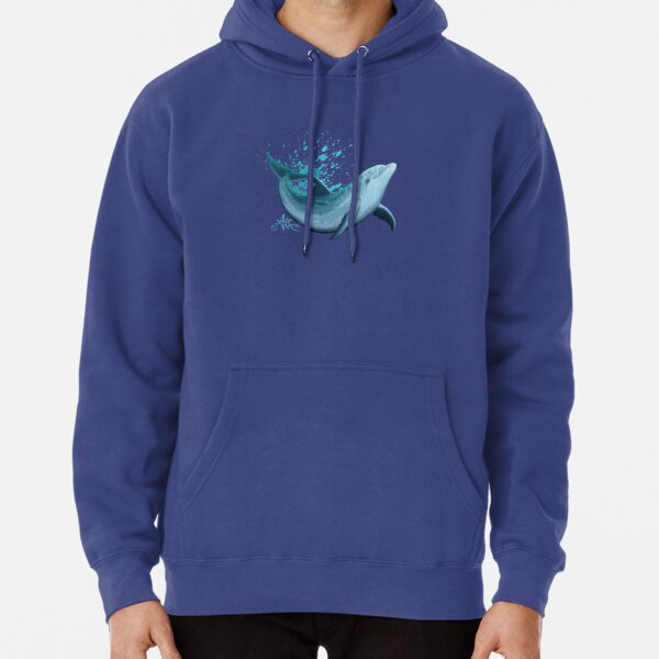 """Riversoul Blue"" by Amber Marine ~ bottlenose dolphin digital painting, art © 2014 Pullover Hoodie"