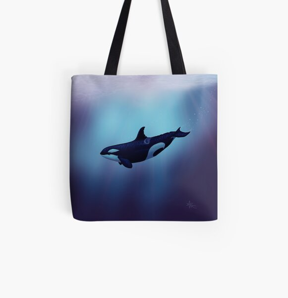 """""""Lost in Fantasy"""" by Amber Marine ~ orca / killer whale art, © 2015 All Over Print Tote Bag"""