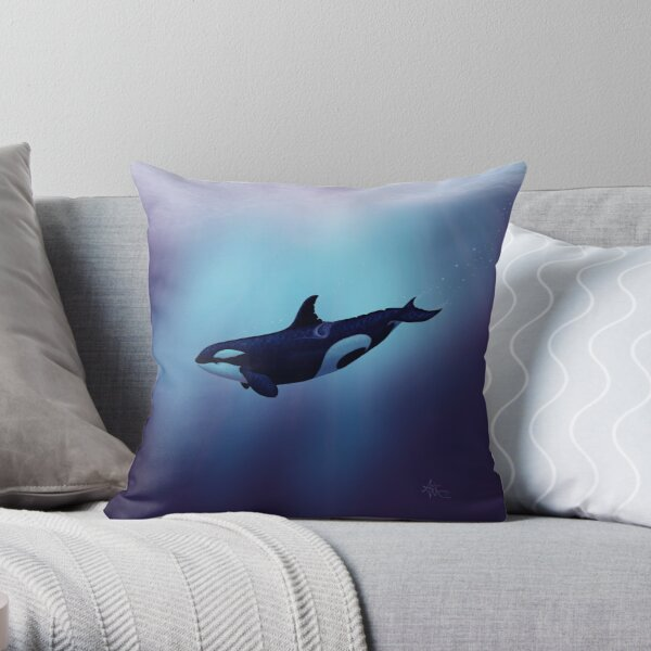"""""""Lost in Fantasy"""" by Amber Marine ~ orca / killer whale art, © 2015 Throw Pillow"""