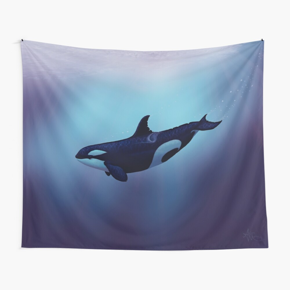 """Lost in Fantasy"" by Amber Marine ~ orca / killer whale art, © 2015 Wall Tapestry"
