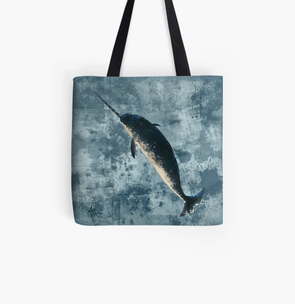 """Jackson the Narwhal"" by Amber Marine ~ digital painting, art © 2015 All Over Print Tote Bag"