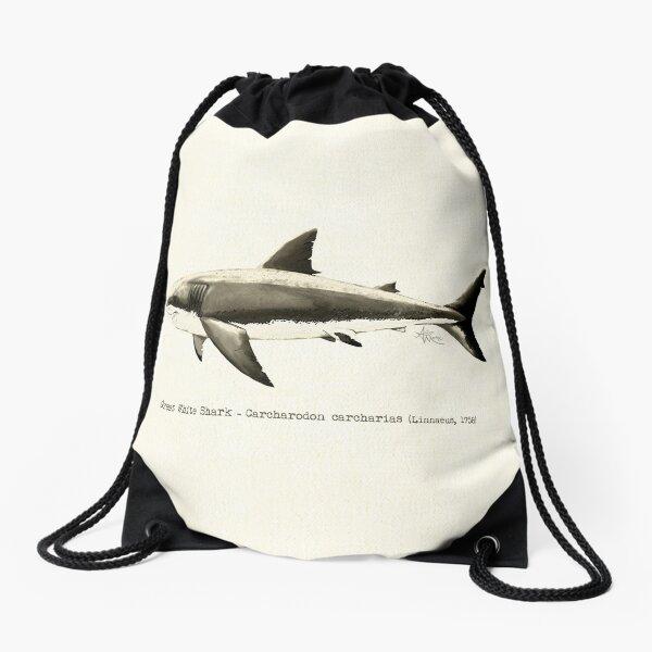 Carcharodon carcharias by Amber Marine, great white shark illustration, art © 2015 Drawstring Bag