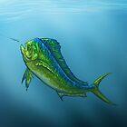 """""""El Dorado"""" by Amber Marine ~ mahi mahi / dolphin fish art, © 2015 by Amber Marine ~ Wildlife Artist ~ © 2004-2019"""