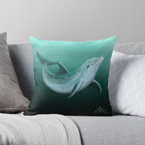 """Riversoul"" by Amber Marine ~ Indian River Lagoon bottlenose dolphin art, © 2014 Throw Pillow"