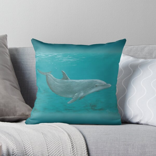 """Shallow Reef"" by Amber Marine ~ acrylic dolphin painting, © 2014 Throw Pillow"