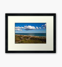 Emerald Isle Beach, Between the Dunes and Clouds Framed Print