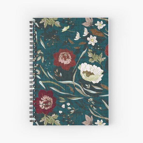 Noir Floral (teal)  Spiral Notebook