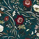 Noir Floral (teal)  by Esther  Fallon Lau