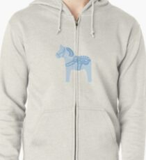 Blaues Dala-Pferd Hoodie mit Reißverschluss