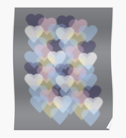 Bokeh Inspired Colorful Hearts Poster