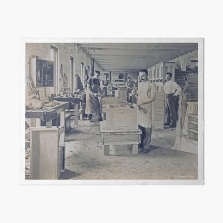 Cabinet Card: c1890 Woodworkers in a Furniture Shop Art Board Print
