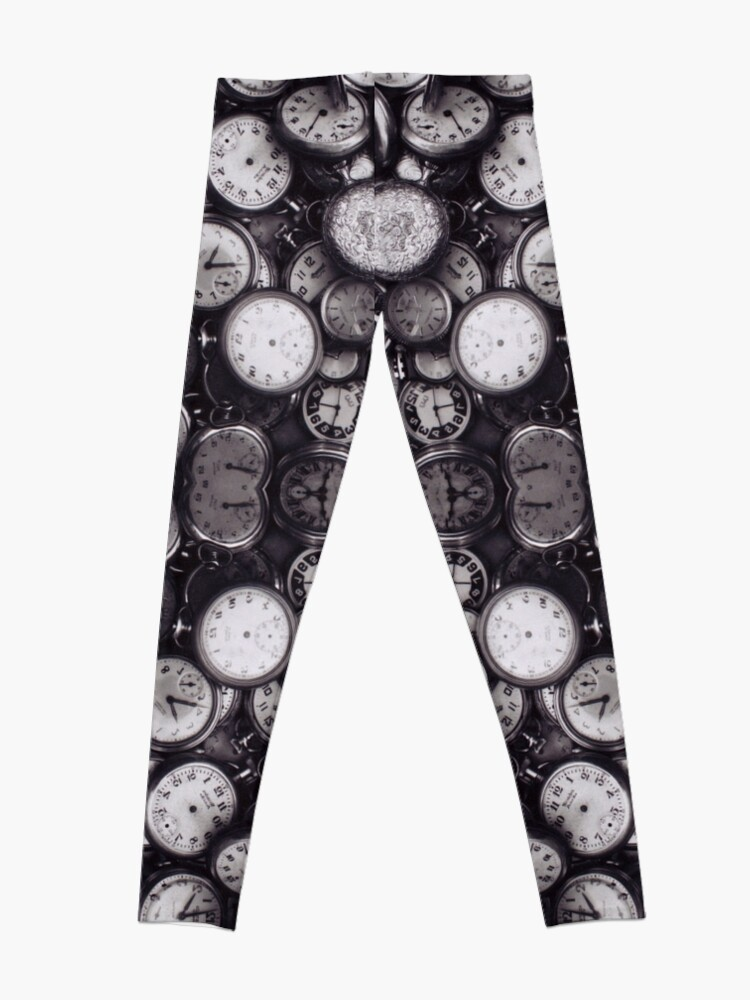Alternate view of Monochrome old, antique, time, clock, pattern, abstract, dirty, design Leggings