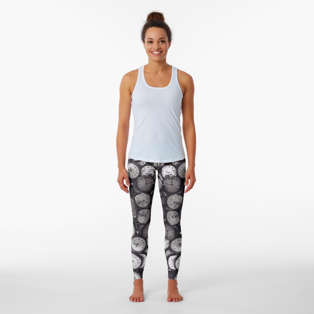 Monochrome old, antique, time, clock, pattern, abstract, dirty, design Leggings