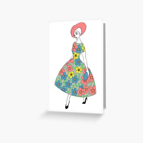 Parisienne - Sommerkleid mit Blumen Grußkarte