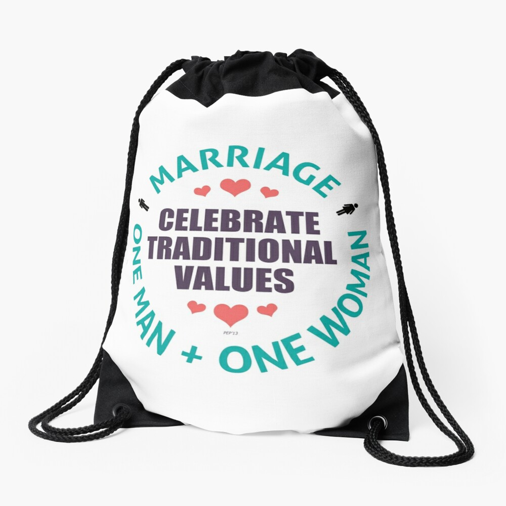 Celebrate Traditional Values Drawstring Bag Front