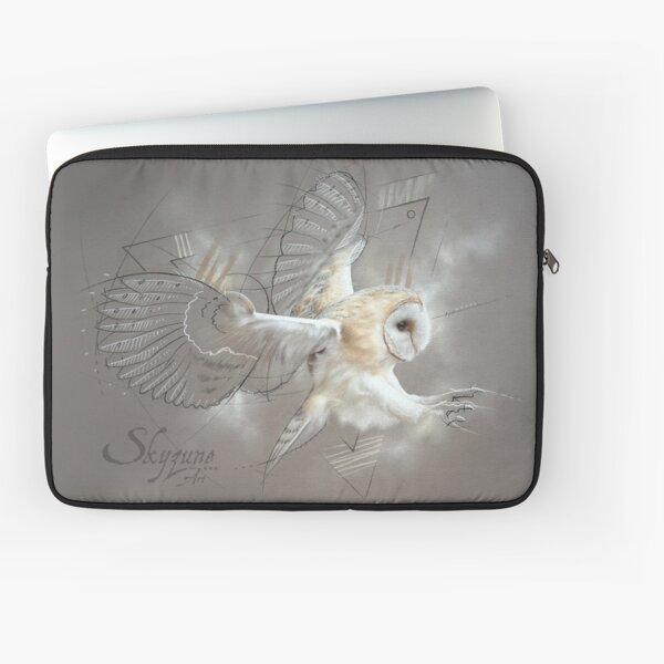 Tableau Chouette effraie en vol, animal sauvage, oiseau, art graphique Housse d'ordinateur