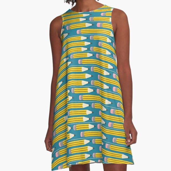 Bleistift-Muster - gelbe Schulbleistifte A-Linien Kleid