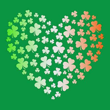 St Patrick's Day Irish Tricolour Flag Shamrock Heart by brodyquixote