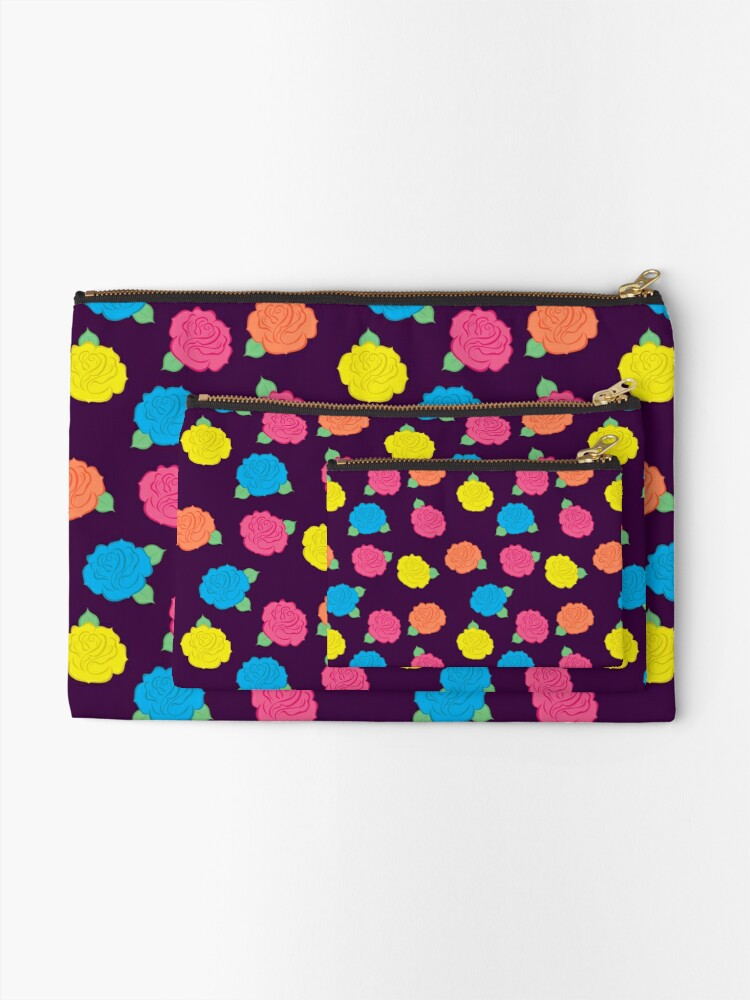Alternate view of Neon Roses Zipper Pouch