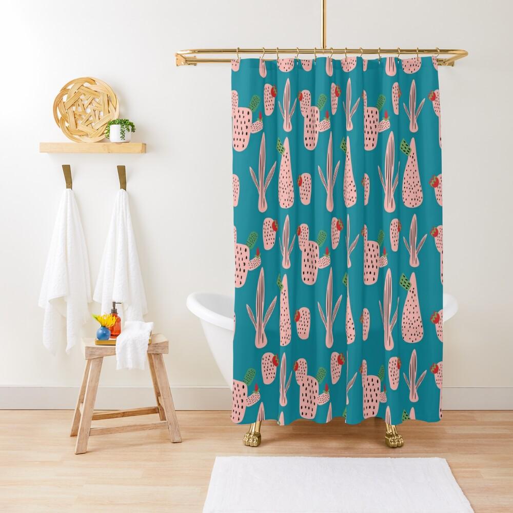 Mid Mod Cactus Teal Shower Curtain
