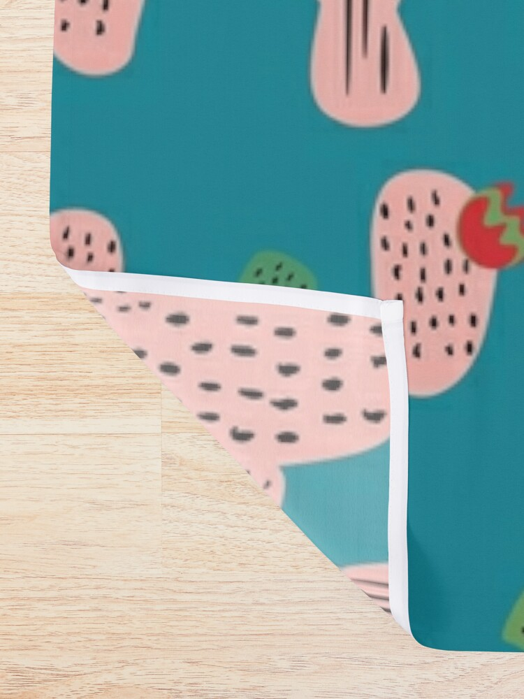 Alternate view of Mid Mod Cactus Teal Shower Curtain