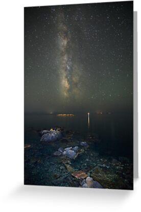 Milky way at a rocky sea coast in Syros island, Greece by Antonis Lemonakis