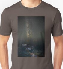 Milky way at a rocky sea coast in Syros island, Greece T-Shirt